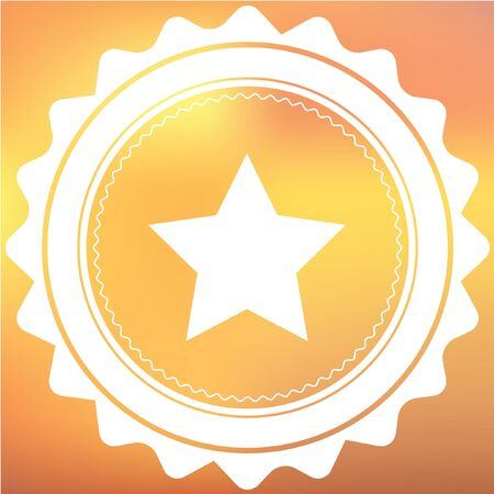 pointed to: A White Retro Icon Isolated on a Red and Yellow Background - 5 Pointed Star