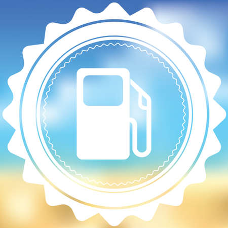 petrol pump: A White Icon Isolated on a Blurred Background - Petrol Pump