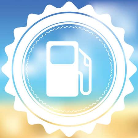 surtidor de gasolina: Un icono blanco aislado en un fondo borroso - bomba de gasolina Foto de archivo
