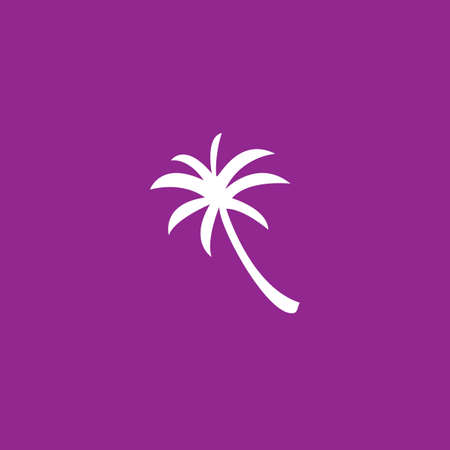 palmtrees: A White Icon Isolated on a Purple Background - Palm tree Stock Photo