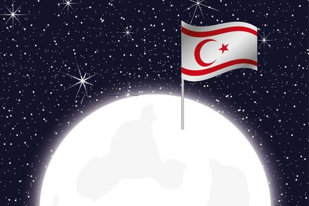 northern: A Moon Illustration with the Flag of Northern Cyprus
