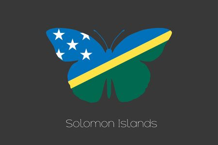 solomon: A Butterfly with the flag of Solomon Islands