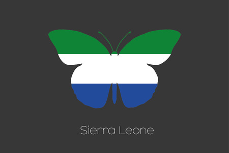 sierra leone: A Butterfly with the flag of Sierra Leone