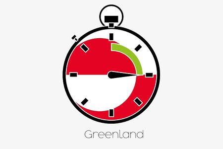 greenland: A Stopwatch with the flag of Greenland Stock Photo