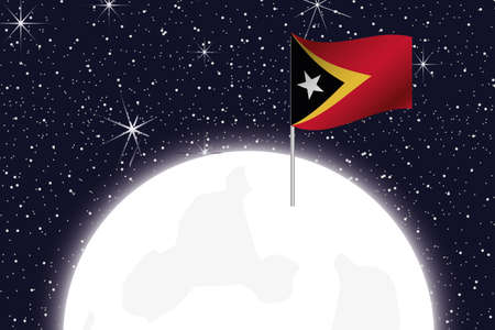 timor: A Moon Illustration with the Flag of East Timor