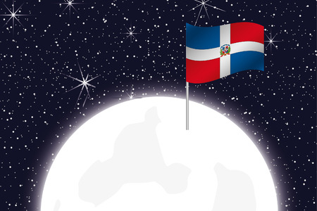 dominican: A Moon Illustration with the Flag of Dominican Republic