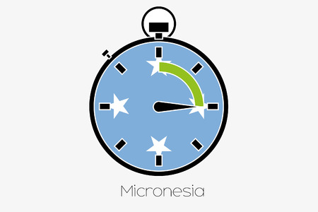 world flag: A Stopwatch with the flag of Micronesia