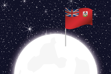 bermuda: A Moon Illustration with the Flag of Bermuda