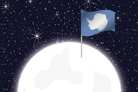 antartica: A Moon Illustration with the Flag of Antartica