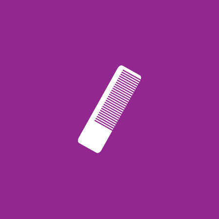 hairbrush: A White Icon Isolated on a Purple Background - Hairbrush