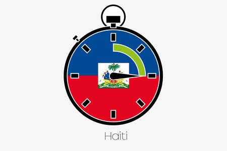 haiti: A Stopwatch with the flag of Haiti