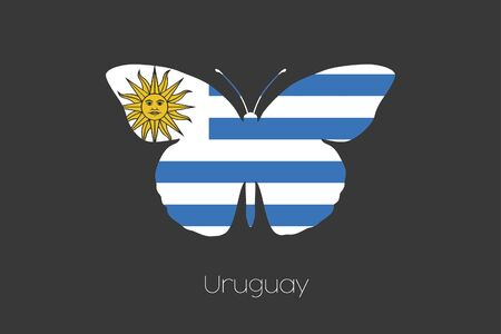 uruguay: A Butterfly with the flag of Uruguay