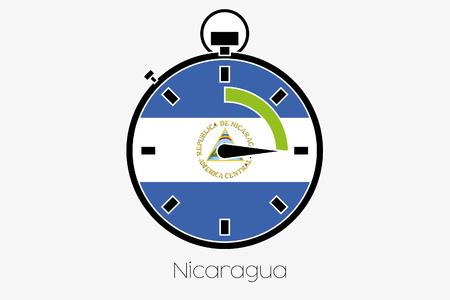 nicaragua: A Stopwatch with the flag of Nicaragua