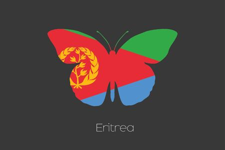 eritrea: A Butterfly with the flag of Eritrea