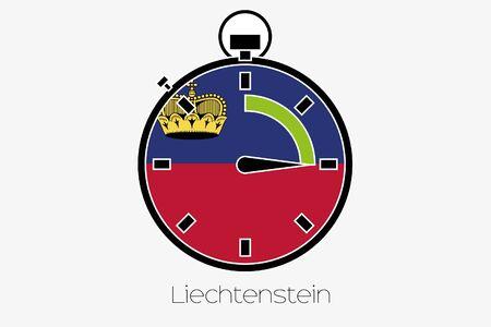 liechtenstein: A Stopwatch with the flag of Liechtenstein Stock Photo