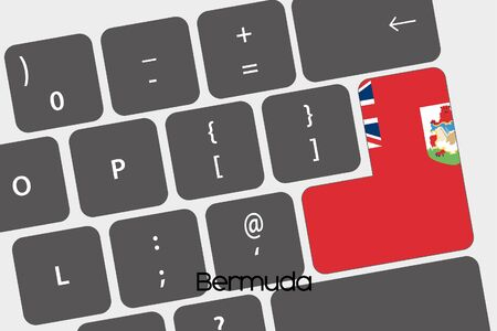 bermuda: A Illustration of a Keyboard with the Enter button being the Flag of  Bermuda Stock Photo