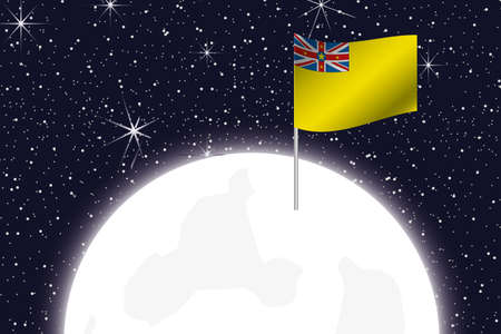 niue: A Moon Illustration with the Flag of Niue