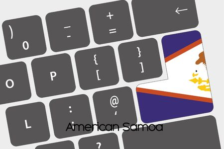 samoa: A Illustration of a Keyboard with the Enter button being the Flag of  American Samoa
