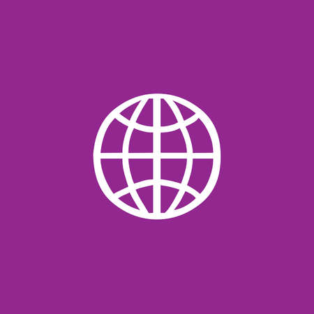 purple background: A White Icon Isolated on a Purple Background - Globe