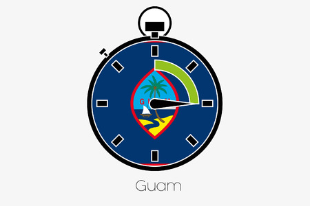 guam: A Stopwatch with the flag of Guam
