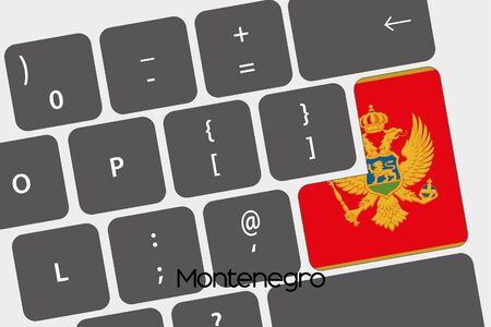A Illustration of a Keyboard with the Enter button being the Flag of  Montenegro