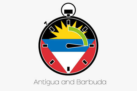 barbuda: A Stopwatch with the flag of Antigua and Barbuda Stock Photo