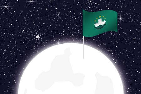 macau: A Moon Illustration with the Flag of Macau Stock Photo
