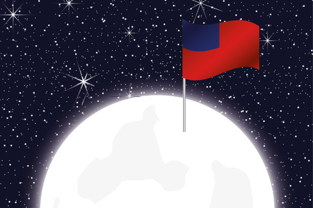 samoa: A Moon Illustration with the Flag of Western Samoa