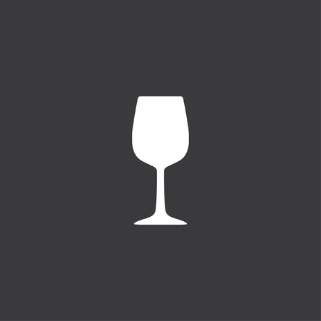 glass wine: A Yellow Icon Isolated on a Grey Background - Wine Glass