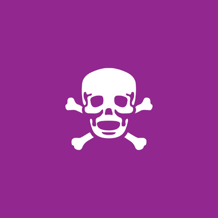 cross bones: A White Icon Isolated on a Purple Background - Skull and Cross Bones