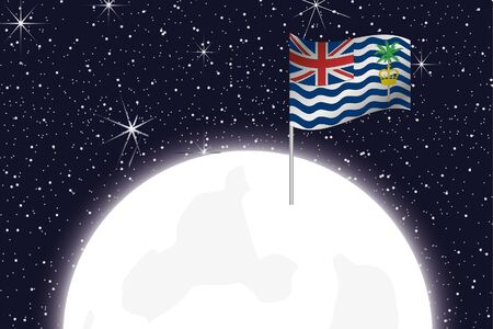 indian ocean: A Moon Illustration with the Flag of British Indian Ocean Territory Stock Photo