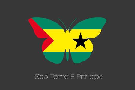 principe: Una mariposa con la bandera de Santo Tomé y Príncipe