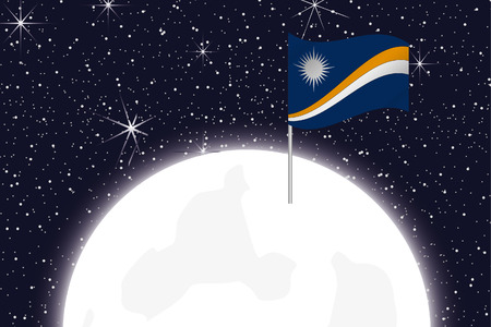 marshall: A Moon Illustration with the Flag of Marshall Islands