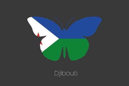 djibouti: A Butterfly with the flag of Djibouti