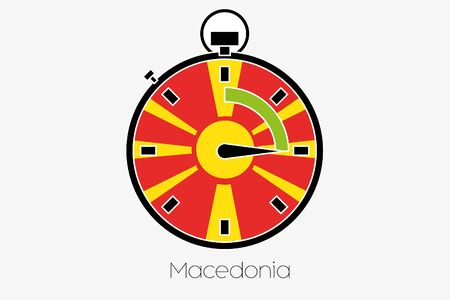 macedonia: A Stopwatch with the flag of Macedonia