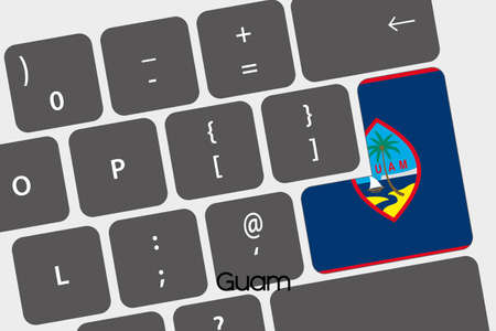 guam: A Illustration of a Keyboard with the Enter button being the Flag of  Guam