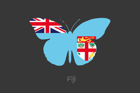fiji: A Butterfly with the flag of Fiji Stock Photo