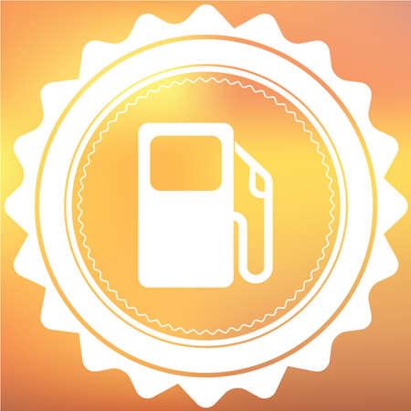 surtidor de gasolina: Un icono blanco retro aislado en un fondo rojo y amarillo - bomba de gasolina Foto de archivo