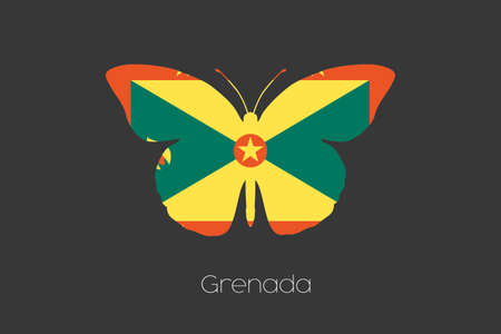 grenada: A Butterfly with the flag of Grenada