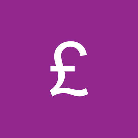 pound sign: A White Icon Isolated on a Purple Background - Pound Sign Stock Photo