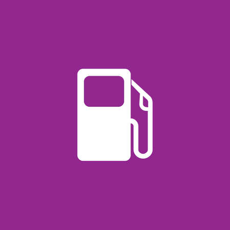 bomba de gasolina: Un icono blanco aislado en un fondo púrpura - bomba de gasolina