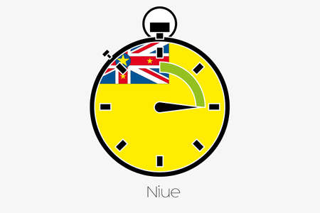 niue: A Stopwatch with the flag of Niue Stock Photo