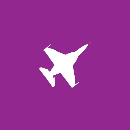 fighter jet: A White Icon Isolated on a Purple Background - Fighter Jet