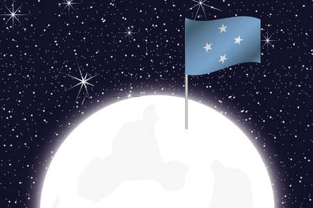 micronesia: A Moon Illustration with the Flag of Micronesia Stock Photo