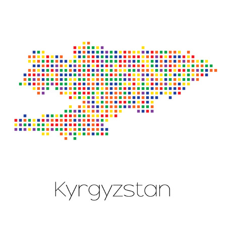 trans gender: A Map of the country of Kyrgyzstan
