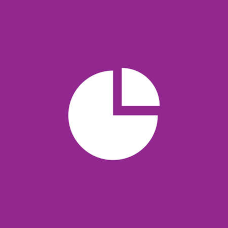 exploded: A White Icon Isolated on a Purple Background - Pie Chart Exploded Stock Photo