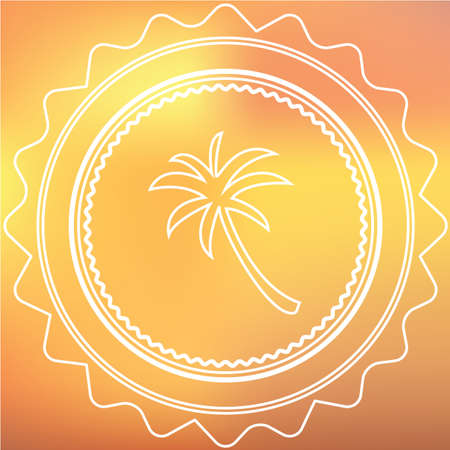 palmtree: A White Retro Icon Isolated on a Red and Yellow Background -  Palmtree