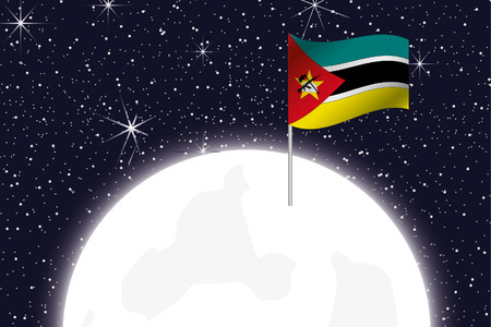 mozambique: A Moon Illustration with the Flag of Mozambique