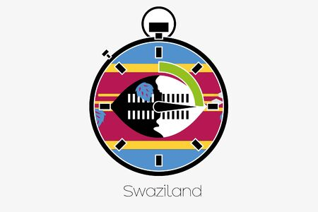 swaziland: A Stopwatch with the flag of Swaziland Stock Photo