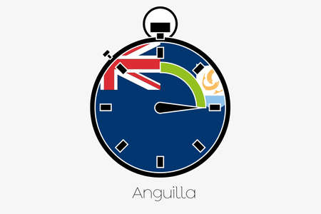 anguilla: A Stopwatch with the flag of Anguilla Stock Photo